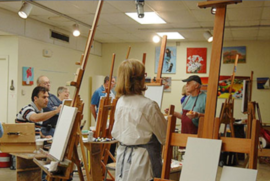 Terry Bean teaching painting